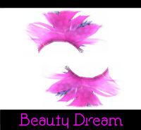 Unechte Künstliche Wimpern mit Feder Eyelashes Pink Lila W-91
