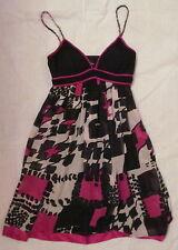 SUE WONG geometric watercolor print SILK CHIFFON empire waist baby doll dress  0