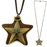 COLLIER pendentif sautoir homme ou femme CUIR marron laiton doré étoile étoiles