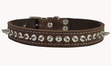 "Genuine Leather Spikes Dog Collar 17""-21"" neck 1"" wide Amstaff Husky Puitbull"