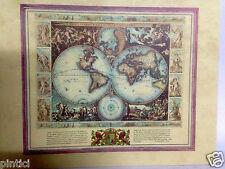 Weltkarte Antik Mittelalter Landkarte  Bild 28x36 Kunstdruck Vespucci Wandbild