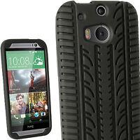 Negro Funda Gel Silicona Tyre para HTC One M8 2014 Neumático Case Carcasa Cover