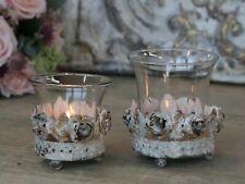 Chic Antique Teelichtglas Metall Shabby Vintage Landhaus Garten Creme Rosen