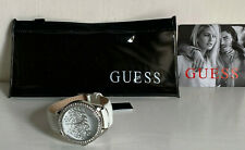 NEW GUESS SWAROVSKI CRYSTALS SILVER-TONE WHITE LEATHER STRAP BRACELET WATCH $100