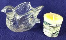 Avon Vintage Collectible Glass Dove Bird Candle Holder plus Yankee Votive Candle