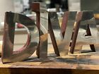 """8"""" Vintage Salvaged Large Chrome And Red Metal Advertising Shop Letters DIVA"""