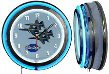 "Blue Angels F/A-18 Hornets 19"" Blue Neon Clock Man Cave Airplane Aircraft V2"