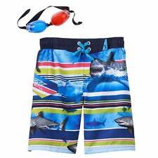 ZEROXPOSUR® Boys' M(5-6) 3D Shark Goggles & Board or Swim Shorts *NWT*