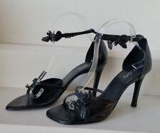 ALDO Size 38 Black Strappy Heels Floral Accents Ankle Straps