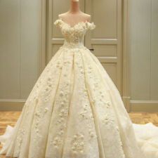 Champagne Wedding Dresses Bridal Ball Gowns Sweetheart Applique Flowers Custom