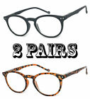 2 Pairs Combo Retro Round Reading Glasses Silver Rivet High Power Up to 6.00