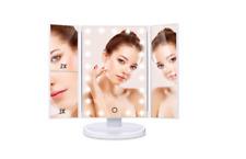 Espejo de maquillaje LED Pantalla Táctil Plegable 180 grados de rotación Lupa 1X 2X 3X