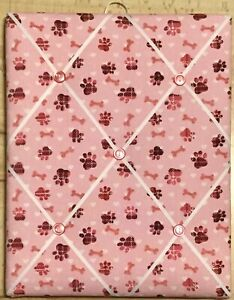 French Bulletin Board Photo Memo Board Pink Dog Paw Bone Print 9.4 x 11.8 inches