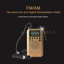 Portable AM/FM Mini Receiver Digital Tuning Radio Stereo Pocket 2Band w/Earphone