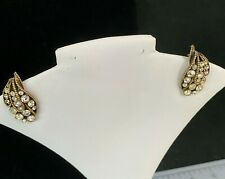 """Kramer of New York"" Rhinestone Clip Earrings with Gold Toned Metal"