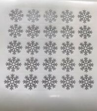 snowflake Decals stickers Glitter Silver X 25 Size 2.5 Cm Each
