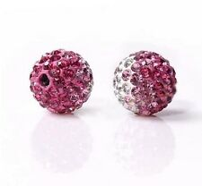 10mm 500pcsthe purple Gradient Rhinestone Round Charm Crystal Shamballa beads