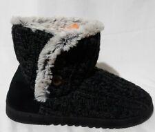 Womens Deerfoams SZ Large 9/10 Gray Sweater Knit Bootie Faux Fur Lined 999680