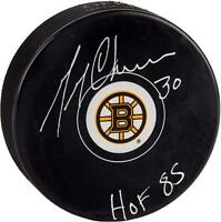 "Gerry Cheevers Boston Bruins Autographed Logo Puck with ""HOF 85"" Inscription"