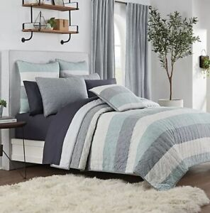 UGG Tideline Blue Striped Twin Quilt NEW