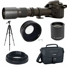 HD TELESCOPE TELEPHOTO ZOOM LENS 500-1000MM + FISHEYE LENS + CASE FOR CANON EOS