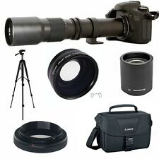 ZOOM LENS 500-1000MM + WIDE ANGLE LENS + CASE FOR CANON EOS REBEL 1100D T5 T3I