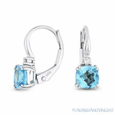 1.36ct Blue Topaz & Diamond Dangling Drop Leverback Baby Earrings 14k White Gold