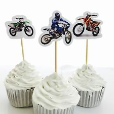 12x Motorbike Cross MX Bike Cupcake Topper Pick *HANDMADE* Party Supplies Lolly