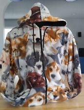 Black Mountain women's fleece dog print jacket with hood LARGE size