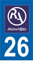 Département 26 MOTO 1 autocollant style plaque moto 3 x 6 cm RHONE ALPES LOGO RA