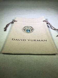 DAVID YURMAN AUTHENTIC ALBION 8MM BLUE TOPAZ PAVE DIAMOND RING SIZE 6 DY. POUCH