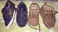 Baby Boy Infant Crib SHOES Sz 2 Brown Suede LOAFER BOOTS & PLACE SNEAKERS Navy