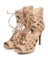 New Women Wild Diva Berlin61 Suede Peep Toe Gilly Tie Hollow Out Stiletto Sandal