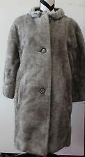 Vintage Lined Gray Faux Fur Coat #S73