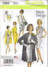 Vtg 60s Retro Dress Coat Vest Simplicity 1284 Sewing Pattern Sz 6 8 10 12 14