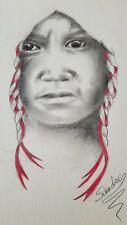 Red Braid Original Sketching by American Artist Sandre Benjaminson signed 20x15