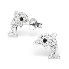 Sterling Silver 925 Clear Crystal Dolphin Stud Earrings