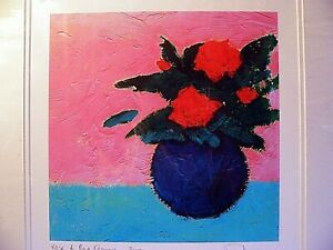 Signed Limited Edit. Phil Johns Numbered Art Mounted Print  Vase of Red Flowers