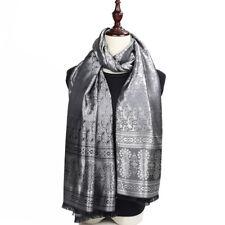 Foulard - 100% Soie Noir Gris argenté 180cm 70cm Silk séide scarf shawl b1a95e3112c