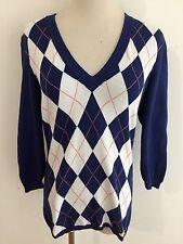 J.Crew V-Neck Cotton Sweater Royal Blue w/ White & Orange Argyle Size S