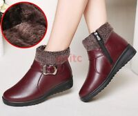 Chic Winter Warm Fur Lined Flats Casual Women Ankle Snow Boots Cotton Shoes @