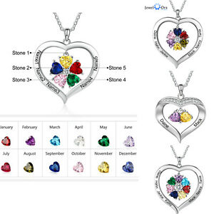 Personalized 1-8 Names Necklace Heart Pendant Birthstones Mom Gifts Family Women