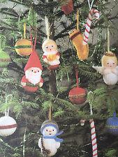 KNITTING PATTERN Jean Greenhowe 7 Christmas Tree Decorations Santa Angel RARE