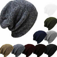 Men Women Knit Wool Winter Oversized Slouch Beanie Hat Hip Hop Cap Hat Hip Hop