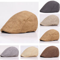 Men Plain Solid Casual Flat Beret Cabbie Hat Ivy Duckbill Peaked Newsboy Cap