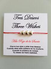 Pulsera 3 Deseos Roja de la Amistad Buena Suerte/ Macrame Bracelet Good Luck