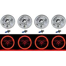 5-3/4 SMD Red LED Halo Halogen Bulb Headlight Angel Eye Crystal Clear Set Of 4