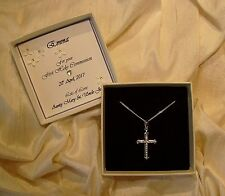 First Holy Communion gift Sterling silver cross pendant with cz Personalised box