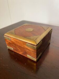 INDIAN CARVED SHEESHAM WOOD BOX  WITH BRASS ACCENTS