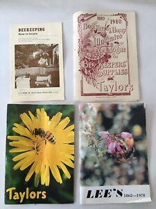 4 X Bee Keeping Books & Catalogues Taylors & Lees - Beekeeping How To Begin Vtge